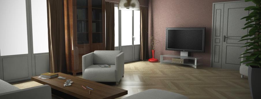 Création d'un visuel de salon Sol et couleurs des murs normalisés