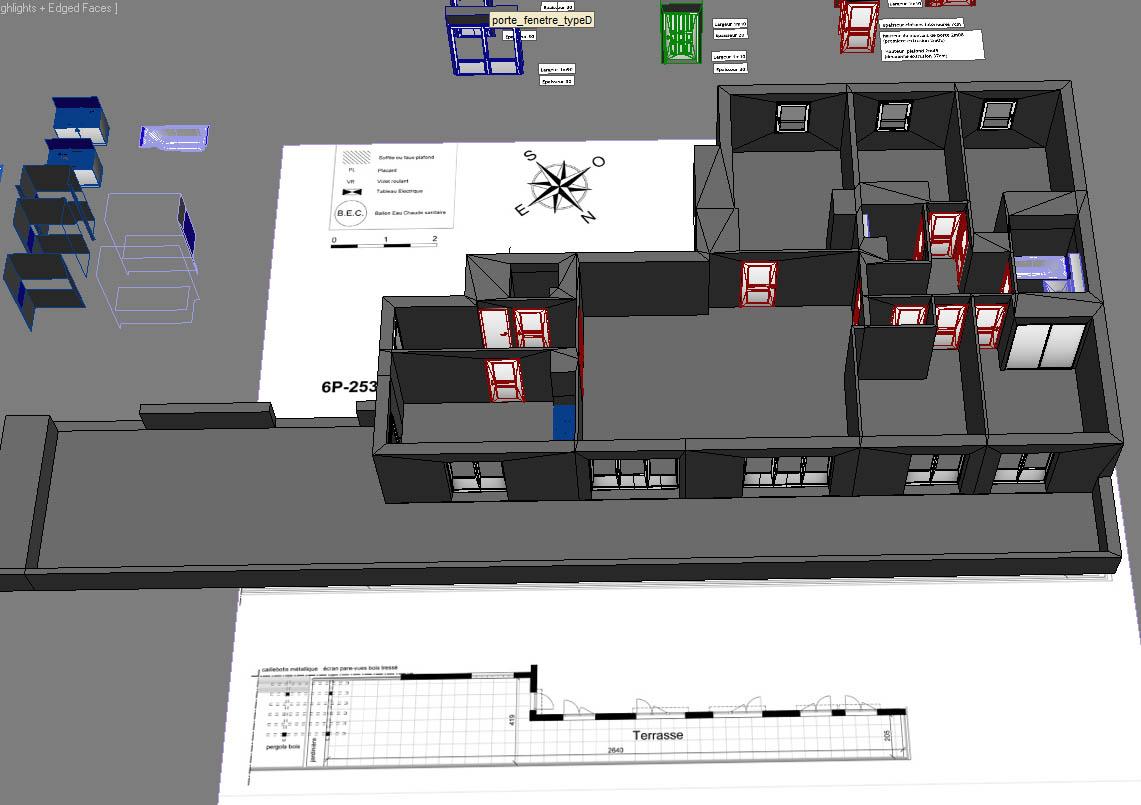 Modélisation, optimisation, séparation du Sol, Mur, MurExt, Plafond, Haut des murs